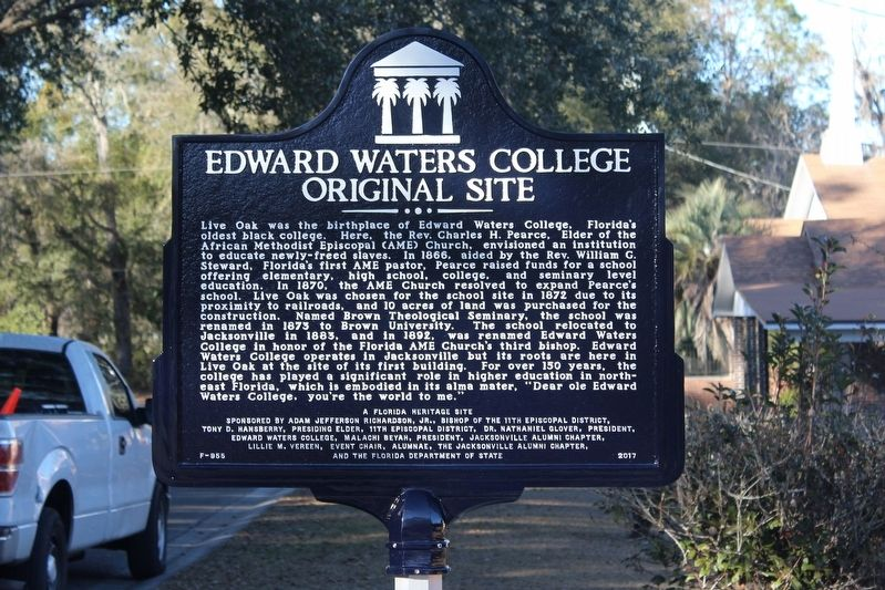 Edward Waters College Original Site Marker image. Click for full size.