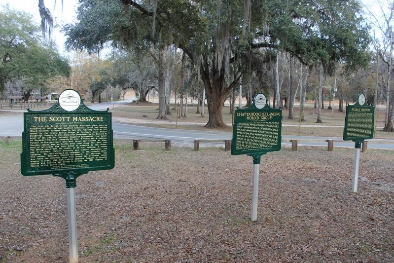 The Scott Massacre Marker and surrounding markers. image. Click for full size.