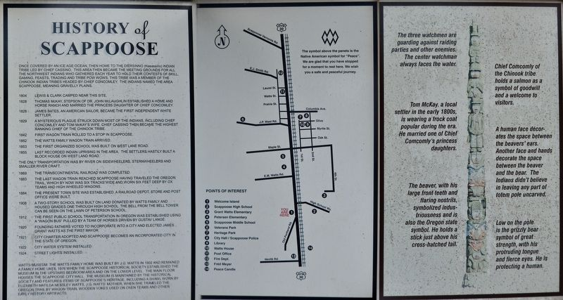 History of Scappoose Marker image. Click for full size.