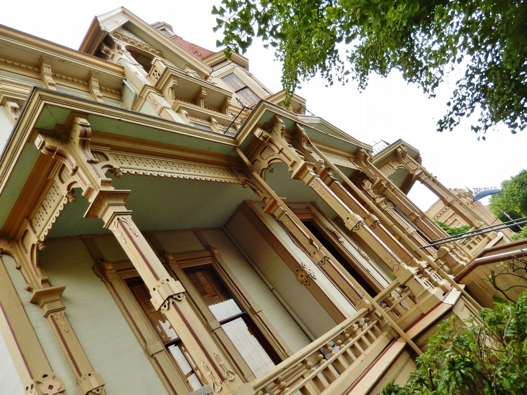 Captain George Flavel Mansion (<i>patio woodwork detail</i>) image. Click for full size.