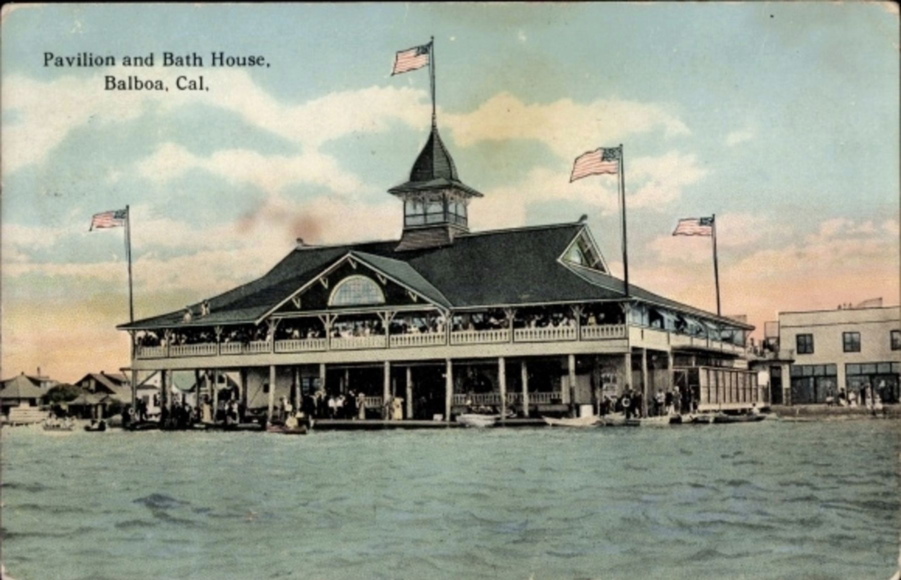 <i>Pavilion and Bath House, Balboa, Cal.</i> image, Touch for more information