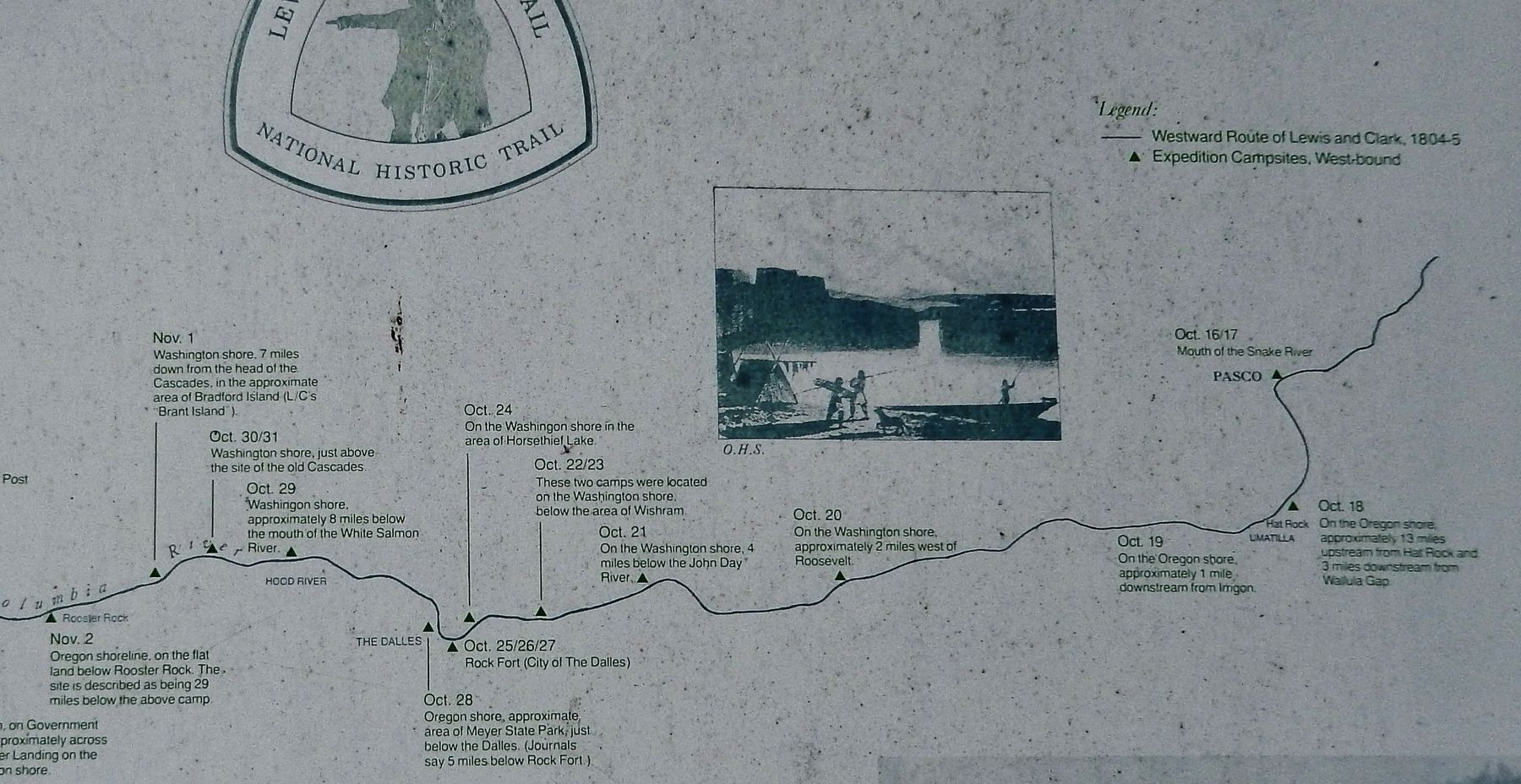 Marker detail: October 1805 Campsites along the Columbia image. Click for full size.