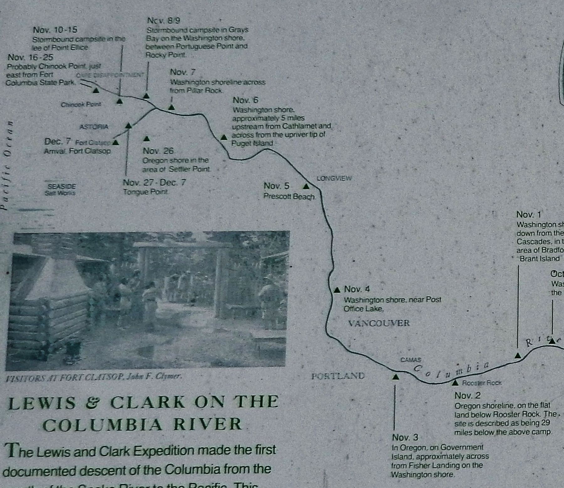 Marker detail: November 1805 Campsites along the Columbia image. Click for full size.