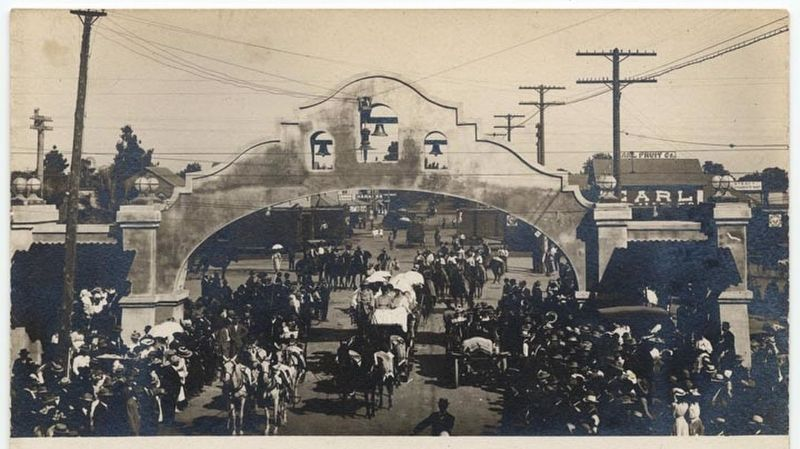 <i>Parade through Mission Arch</i> image. Click for full size.