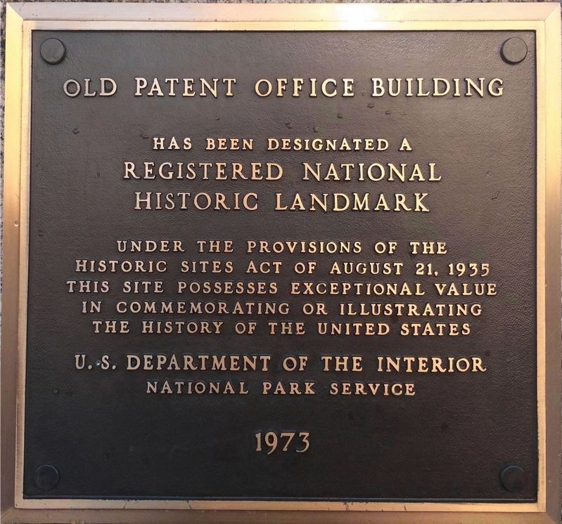 Old Patent Office Building Plaque image. Click for full size.