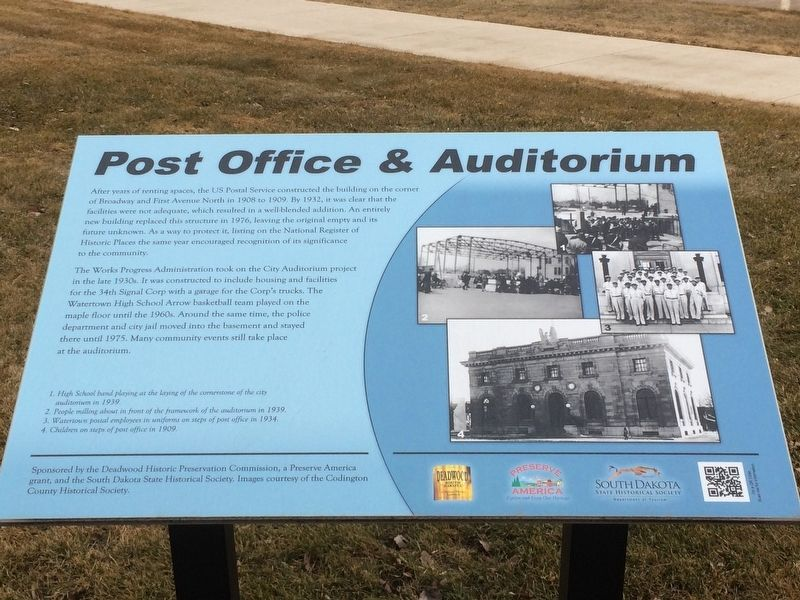 Post Office & Auditorium Marker image. Click for full size.