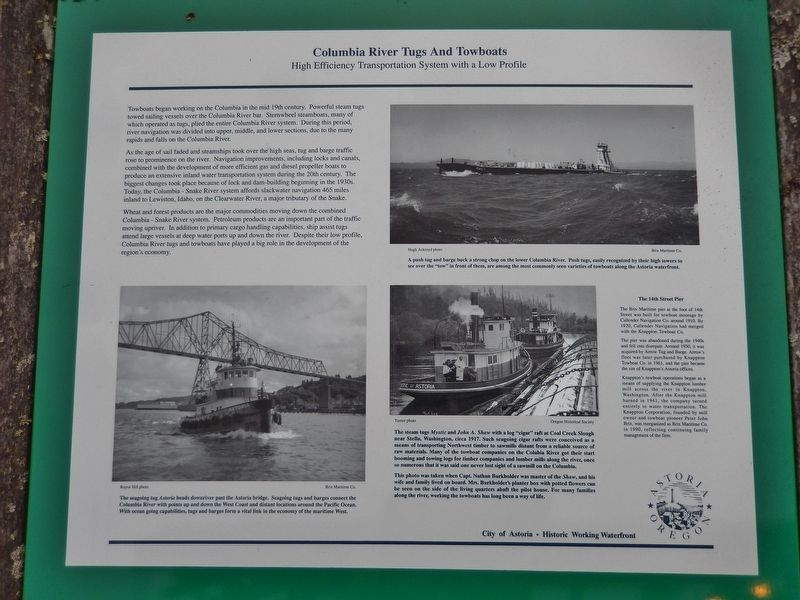 Columbia River Tugs And Towboats Marker image. Click for full size.
