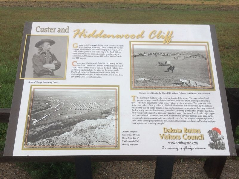Custer and Hiddenwood Cliff Marker image. Click for full size.