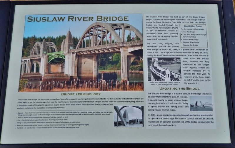 Siuslaw River Bridge Marker image. Click for full size.
