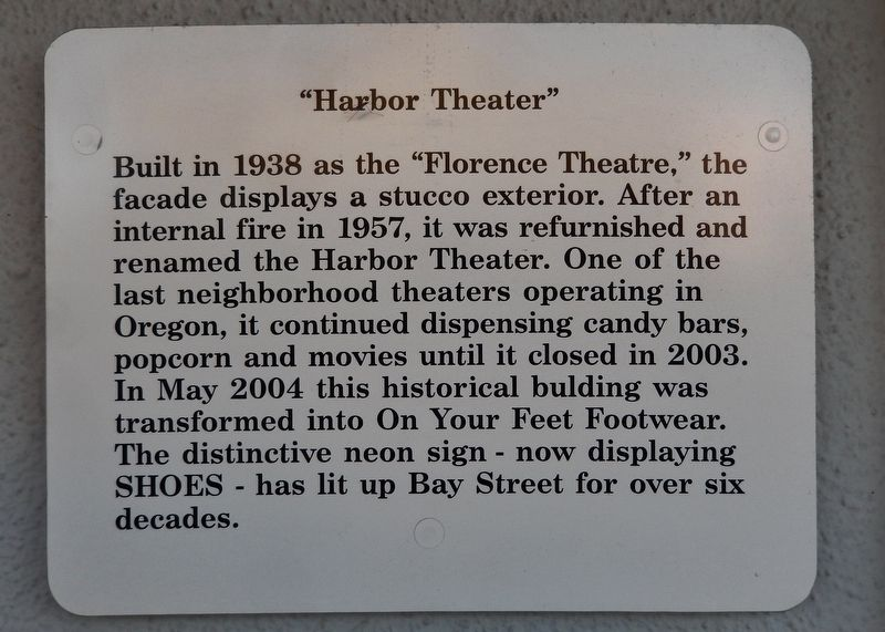 Harbor Theater Marker image. Click for full size.