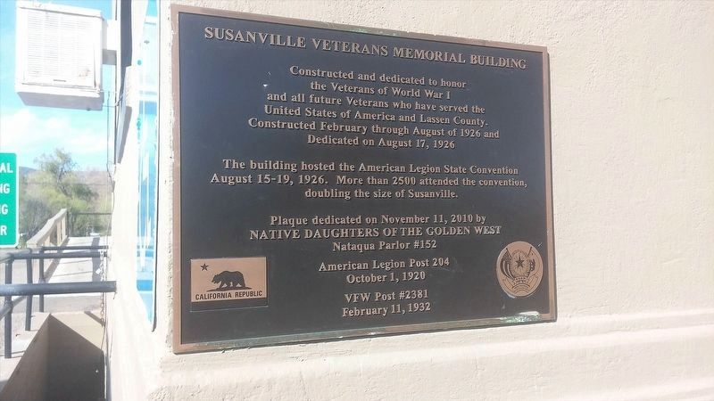 Susanville Veterans Memorial Building Marker image. Click for full size.