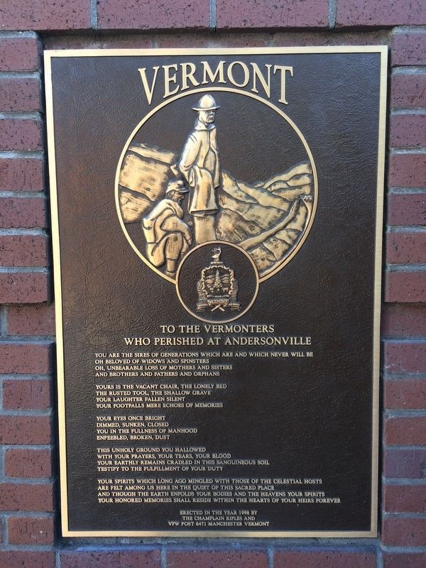 To the Vermonters who Perished at Andersonville Marker image. Click for full size.