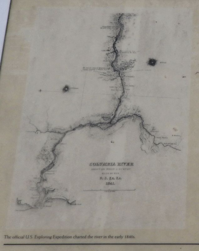 Marker detail: The official U.S. Exploring Expedition charted the river in the early 1840s image. Click for full size.