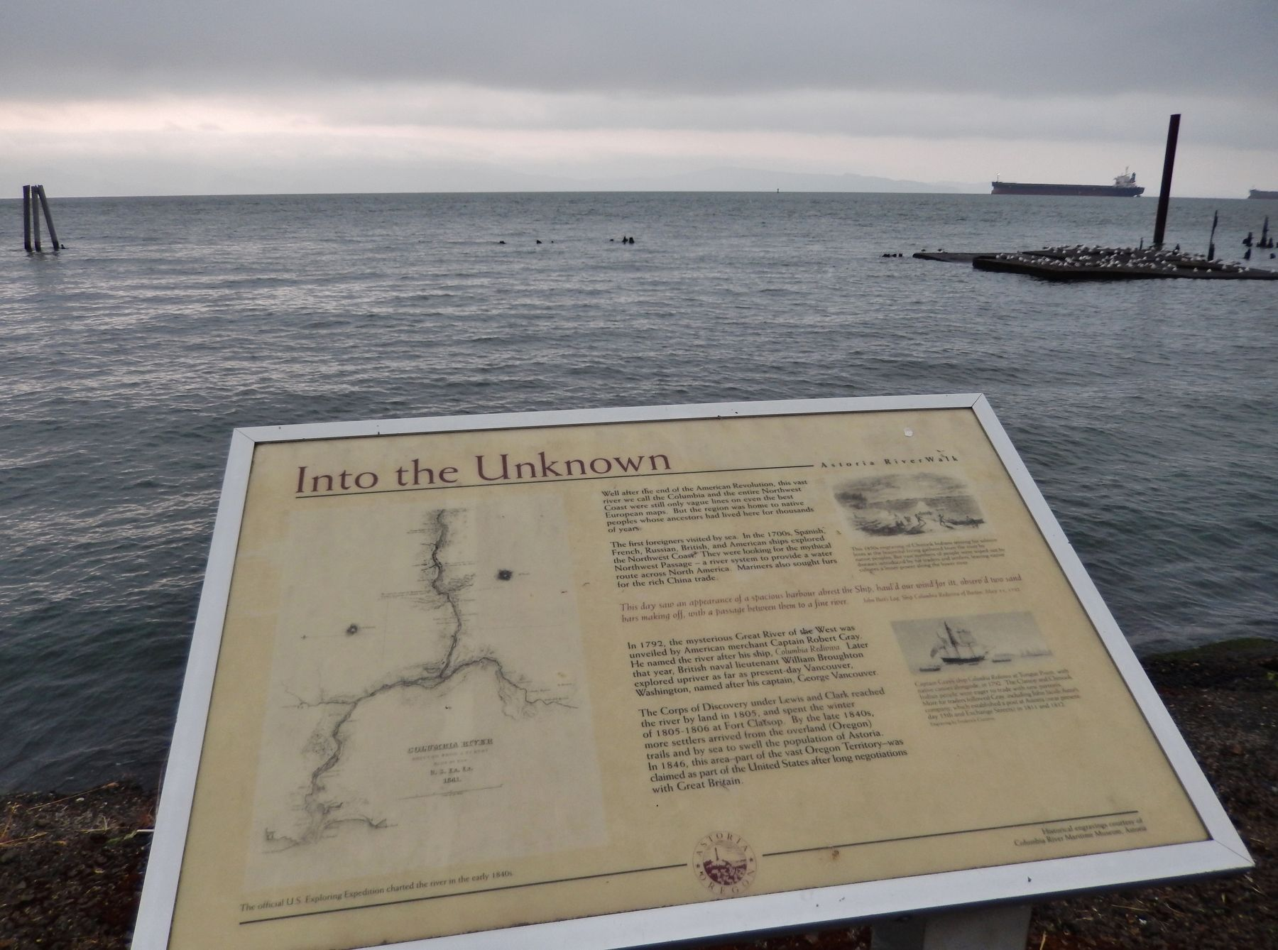 Into the Unknown Marker (<i>wide view looking north; Columbia River in the background</i>) image. Click for full size.