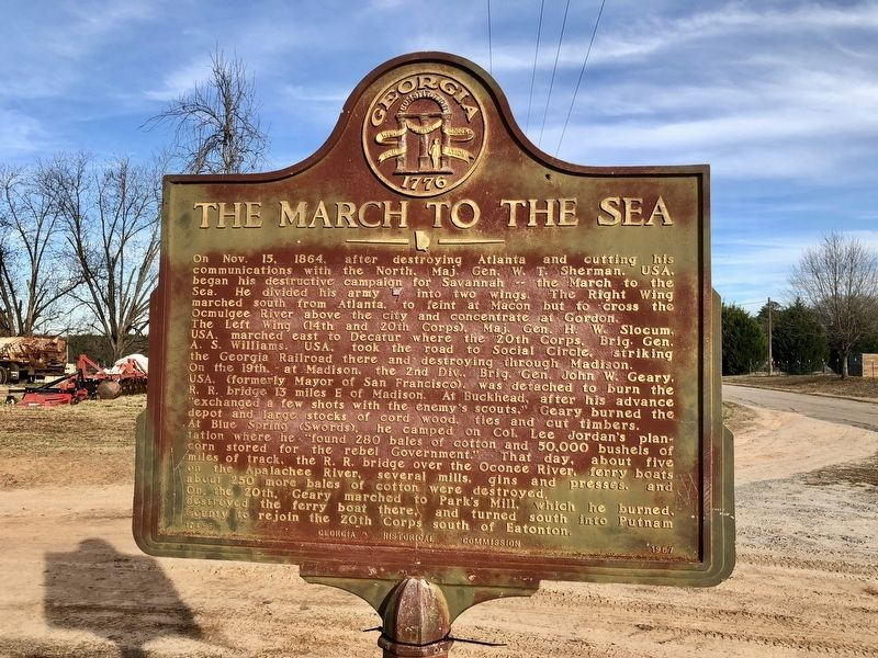 Another March to the Sea marker a little over 1.5 miles west. image. Click for full size.