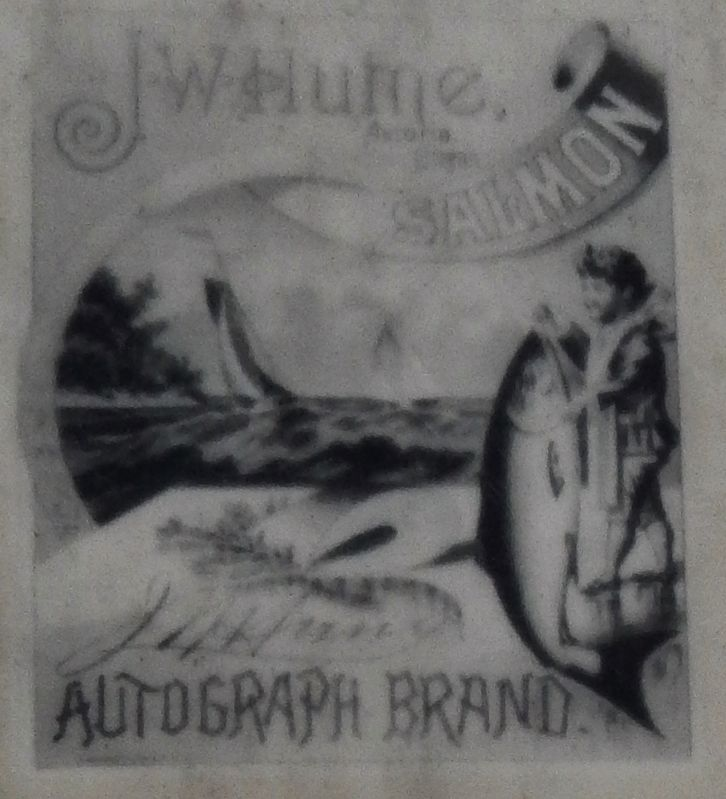 Marker detail: J.W. Hume Salmon Label image. Click for full size.