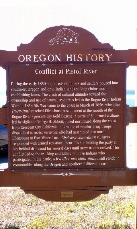 Conflict at Pistol River Marker image. Click for full size.