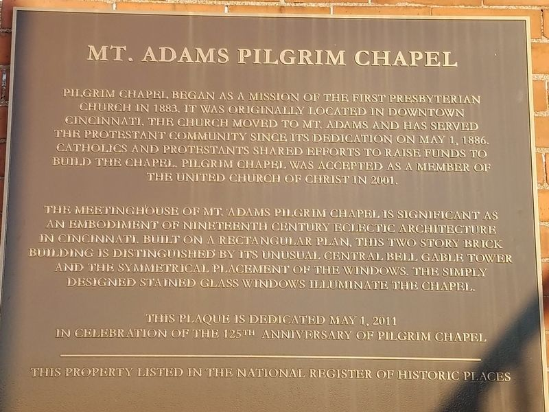Mt. Adams Pilgrim Chapel Marker image. Click for full size.