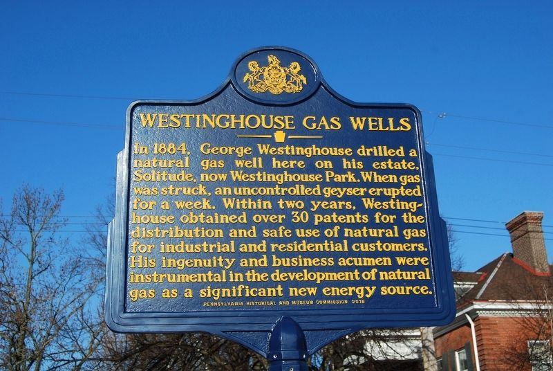 Westinghouse Gas Wells Marker image. Click for full size.