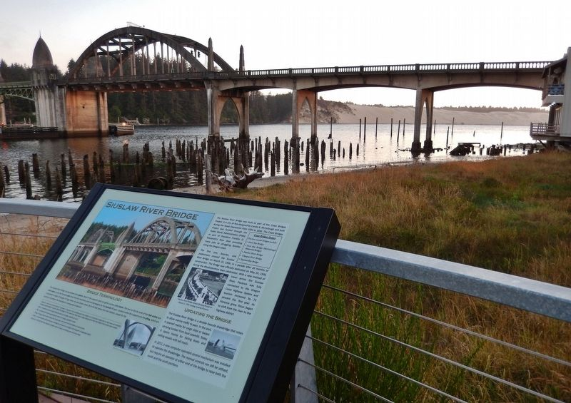 Siuslaw River Bridge Marker (<i>wide view</i>) image. Click for full size.