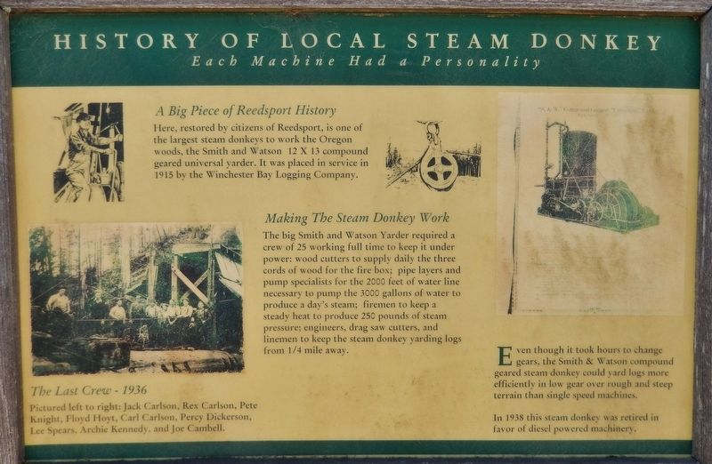 History of Local Steam Donkey Marker image. Click for full size.