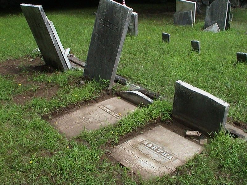 Cheswell Headstones Before Repairs image. Click for full size.