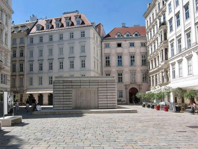 Judenplatz Holocaust Memorial Marker - Looking West image. Click for full size.