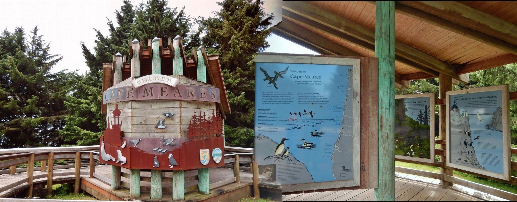 Cape Meares Welcome Kiosk (<i>marker is located to the right of this sign</i>) image. Click for full size.