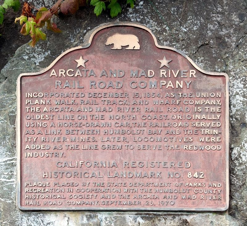 Arcata and Mad River Rail Road Company Marker image. Click for full size.