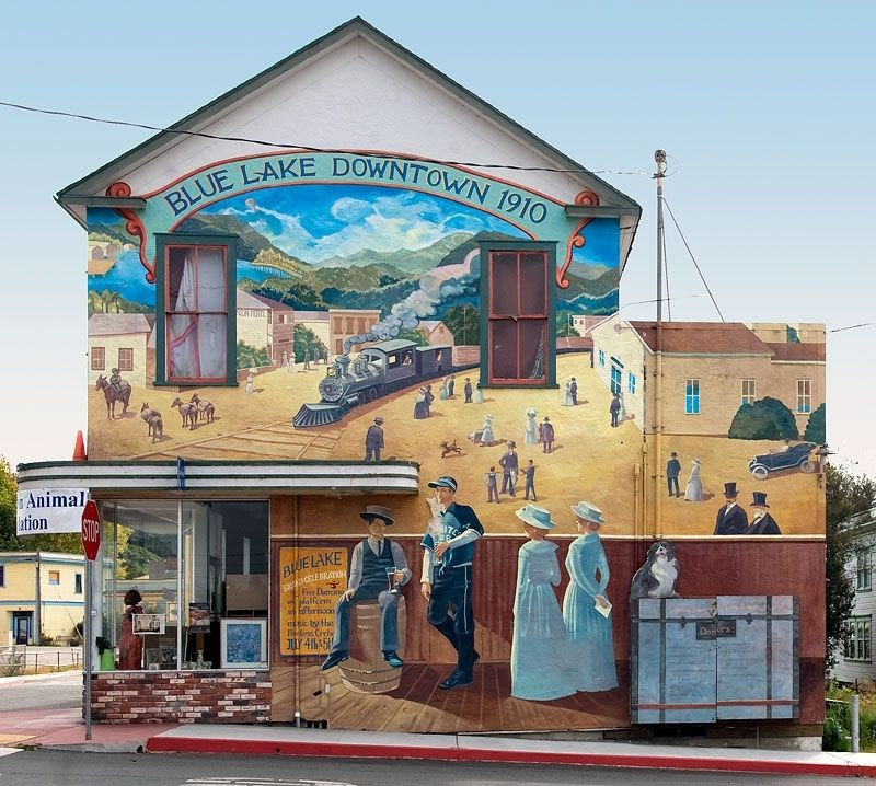 Arcata and Mad River Rail Road Company Mural image. Click for full size.