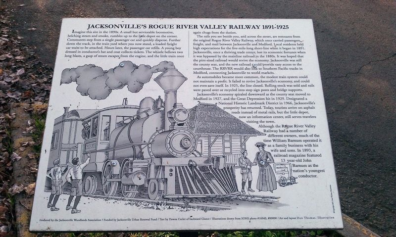 Jacksonville's Rogue River Valley Railway 1891-1925 Marker image. Click for full size.