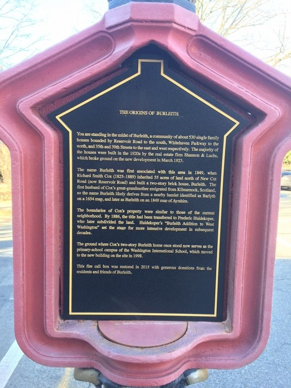 The Origins of Burleith Marker image. Click for full size.