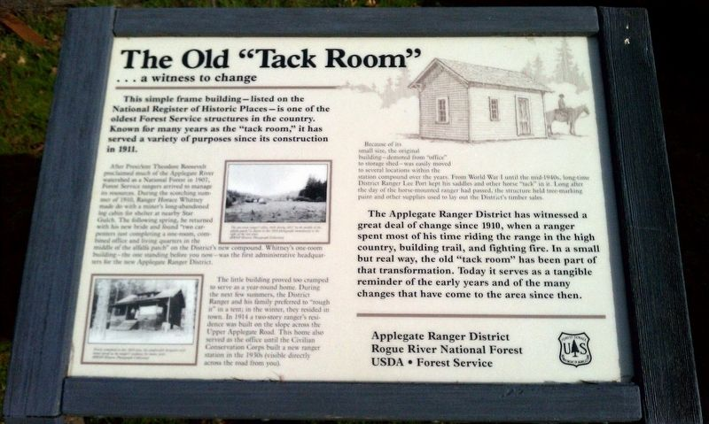 "The Old ""Tack Room"" Marker image. Click for full size."