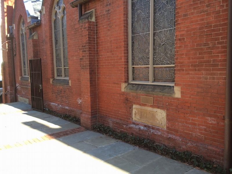 The Cornerstone of the Original Christ Church Marker image. Click for full size.