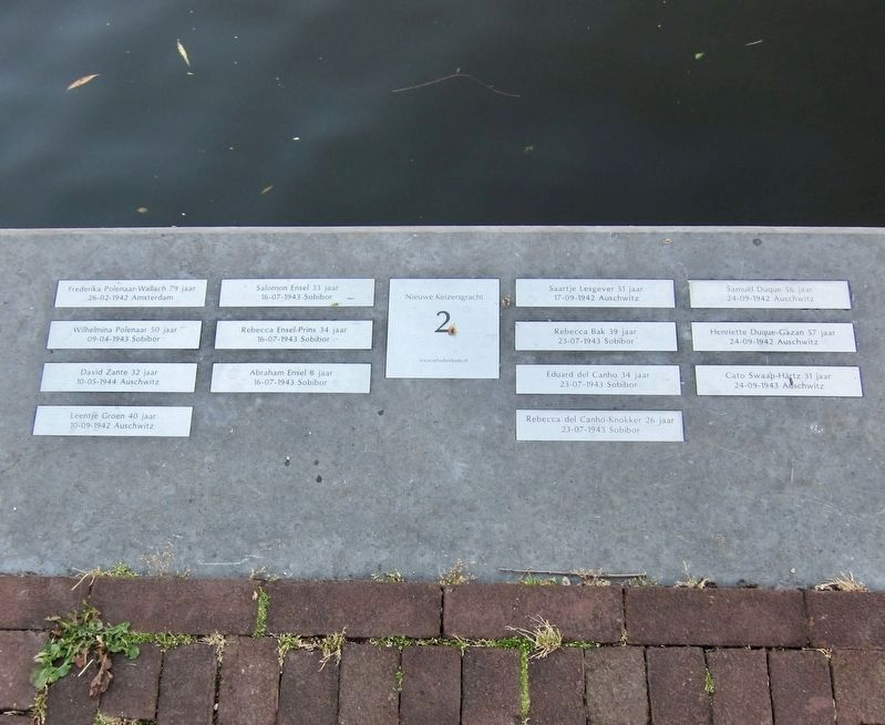De Schaduwkade (Shadow Wall) - Victims Names for the Nieuwe Keizersgracht 2 House image. Click for full size.