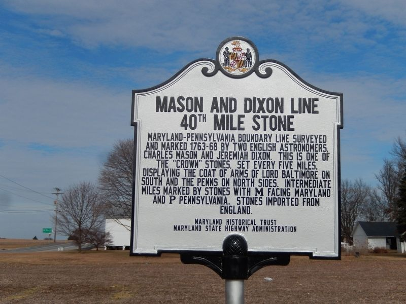 Mason and Dixon Line 40th Mile Stone Marker image. Click for full size.
