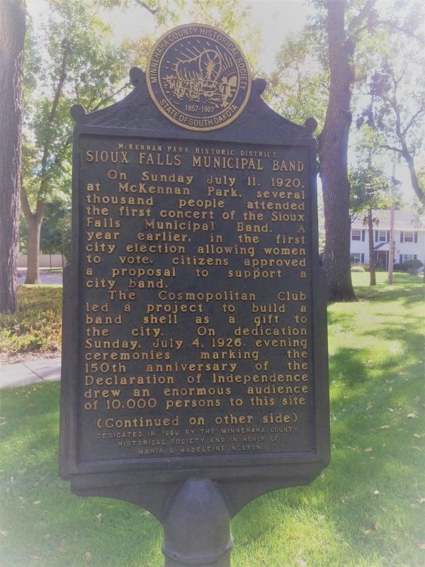 Sioux Falls Municipal Band Marker image. Click for full size.