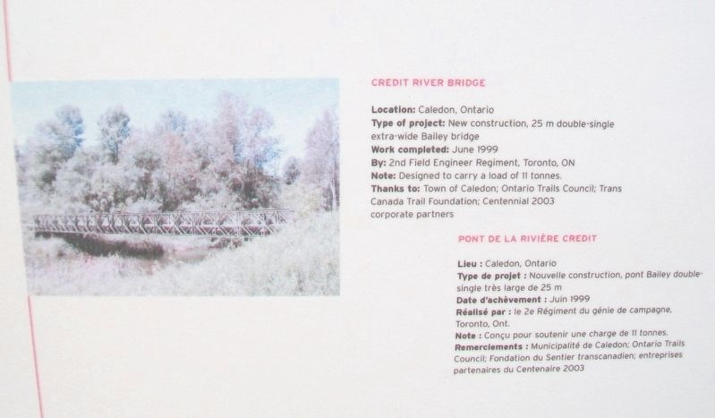 """Bridges for Canada""/« Ponts pour le Canada » Credit River Bridge Marker image. Click for full size."