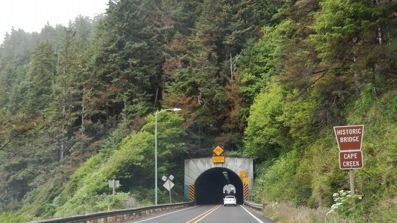 Cape Creek Tunnel (<i>south portal; as viewed from Oregon Coast Highway</i>) image. Click for full size.