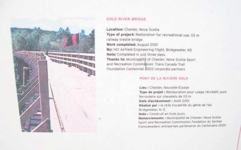 """Bridges for Canada""/« Ponts pour le Canada » Gold River Bridge Marker image. Click for full size."