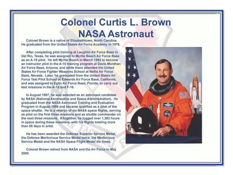 Colonel Curtis L. Brown NASA Astronaut Marker image. Click for full size.