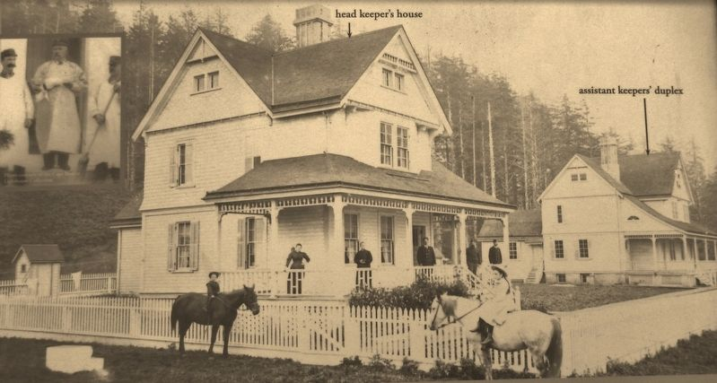 Marker detail: Lightkeepers' Houses circa 1895 image. Click for full size.