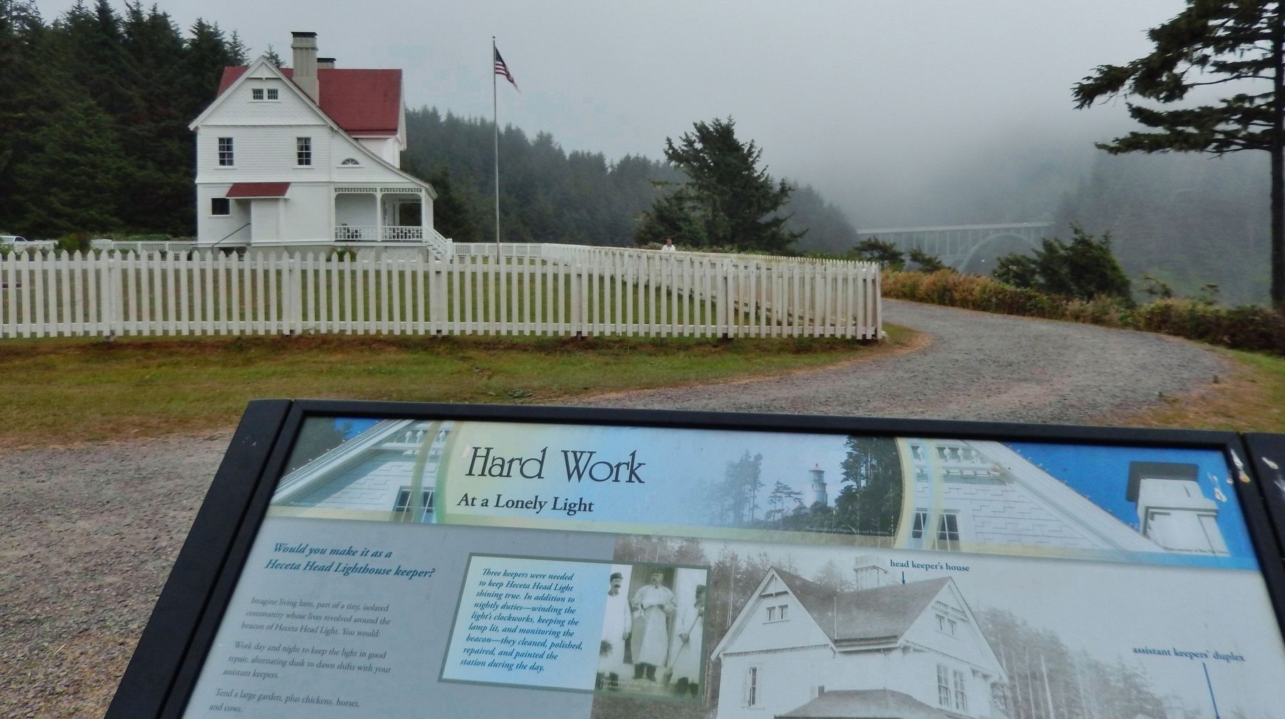 Hard Work at a Lonely Light Marker (<i>wide view; Assistant Keepers&#39; house in background</i>) image. Click for full size.
