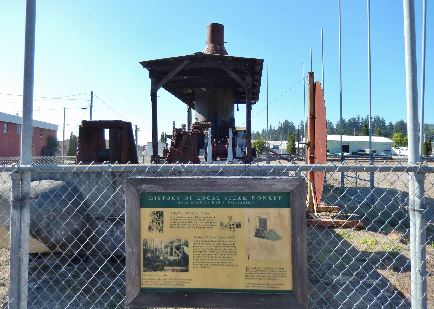 History of Local Steam Donkey Marker (<i>wide view</i>) image. Click for full size.