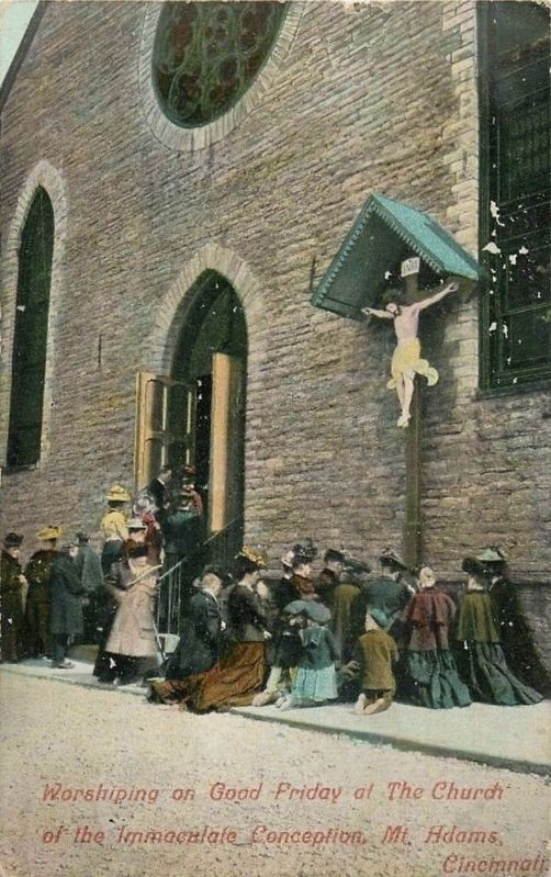 <i>Worshiping on Good Friday at the Church of the Immaculate Conception, Mt. Adams, Cincinnati.</i> image. Click for full size.