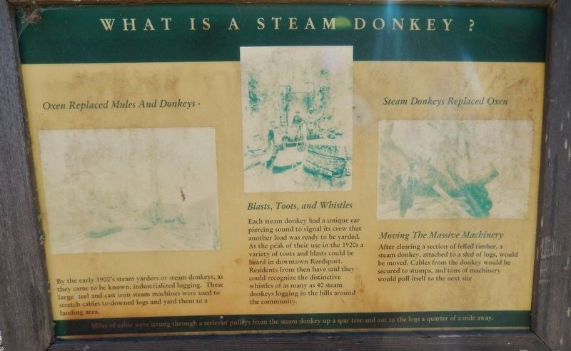 What is a Steam Donkey? Marker image. Click for full size.