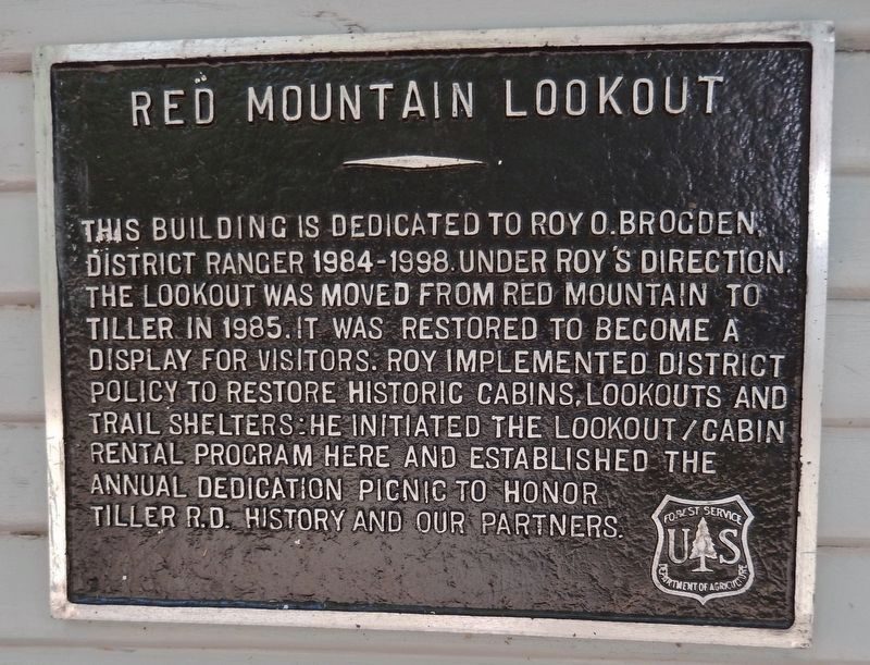 Red Mountain Lookout Dedication Plaque image. Click for full size.