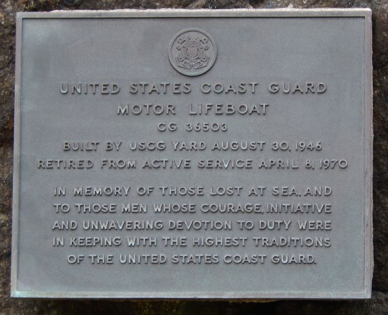 United States Coast Guard Motor Lifeboat CG 36503 Marker image. Click for full size.