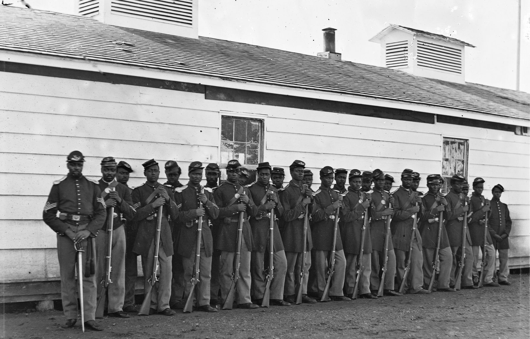 Company E, 4th U.S. Colored Infantry, at Fort Lincoln image. Click for full size.