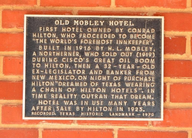 Old Mobley Hotel Marker image. Click for full size.